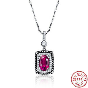 3-5CT-Oval-Cut-Gemstone-AAA-Ruby-100-925-Sterling-Silver-Chain-Pendant-Necklace