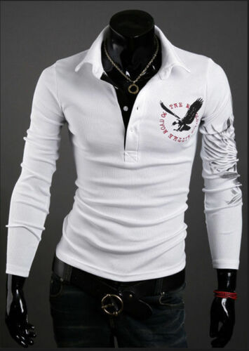 New Men/'s Stylish Slim Fit Casual Fashion T-shirts Pol Shirt Long Sleeve Tops