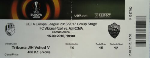 TICKET UEFA EL 2016//17 FC Viktoria Plzen AS Roma