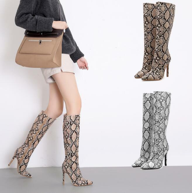 Womens Snake Print Knee High Boots High Stilettos Heels Pointy Toe Party shoes