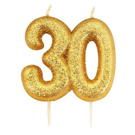 30th Birthday Anniversary Gold Glitter Age Number Candle Party Cake Topper Gift