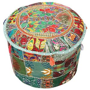 Indian-Round-Pouf-Cover-Patchwork-Bohemian-Lounge-Ottoman-Embroidered-22-034-Green