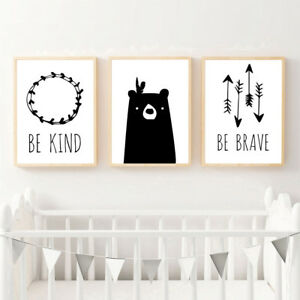Image Is Loading Be Brave Tribe Bear Arrow Canvas Nursery Wall