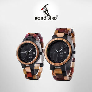 53b017677 BOBO BIRD Wooden Watch Multi-Color His   Hers Matching Set with ...