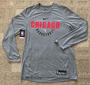 Nike-Dry-Mens-Long-Sleeve-Basketball-Shirt-NBA-Chicago-Bulls-Gray-Size-Large-L