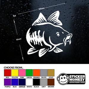 CARPE POISSON-Pêche//Pêche à la ligne Van//Voiture//Fenêtre//Tackle Box Sticker//Autocollant TOUTE COULEUR