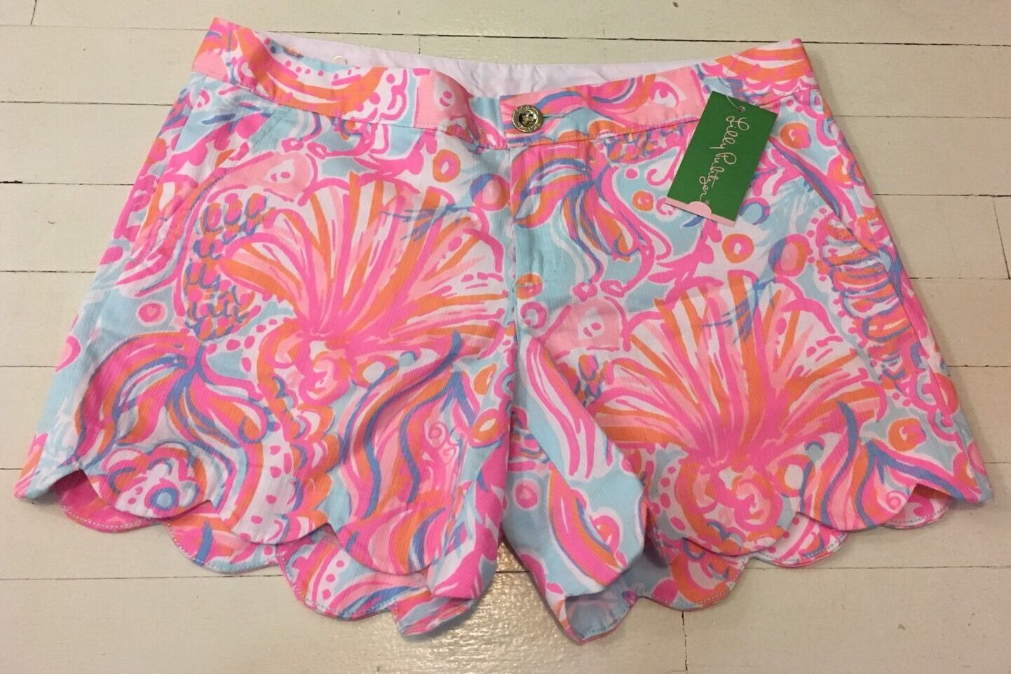NEW Lilly Pulitzer Buttercup Scallop Pastel Fish Shorts Too Much Bubbly Sz 4