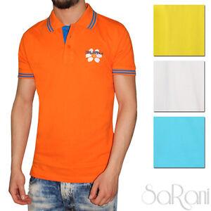 Polo-Uomo-GURU-Sport-Cotone-Righe-Maniche-Corte-T-Shirt-Vari-Colori-SARANI