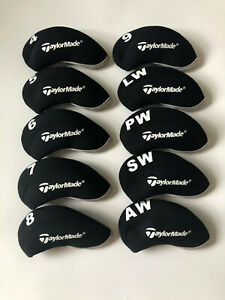 10PCS-Iron-Headcovers-for-Taylormade-Club-Covers-Caps-Black-amp-Black-4-LW-Universal