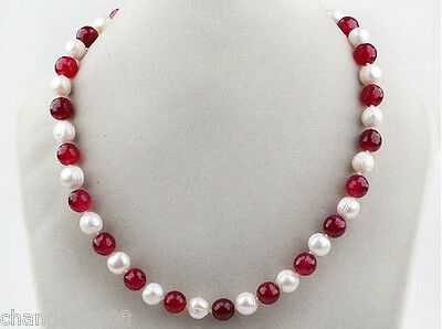 7-8MM Round Freshwater Pearl and Ruby Necklace 18''