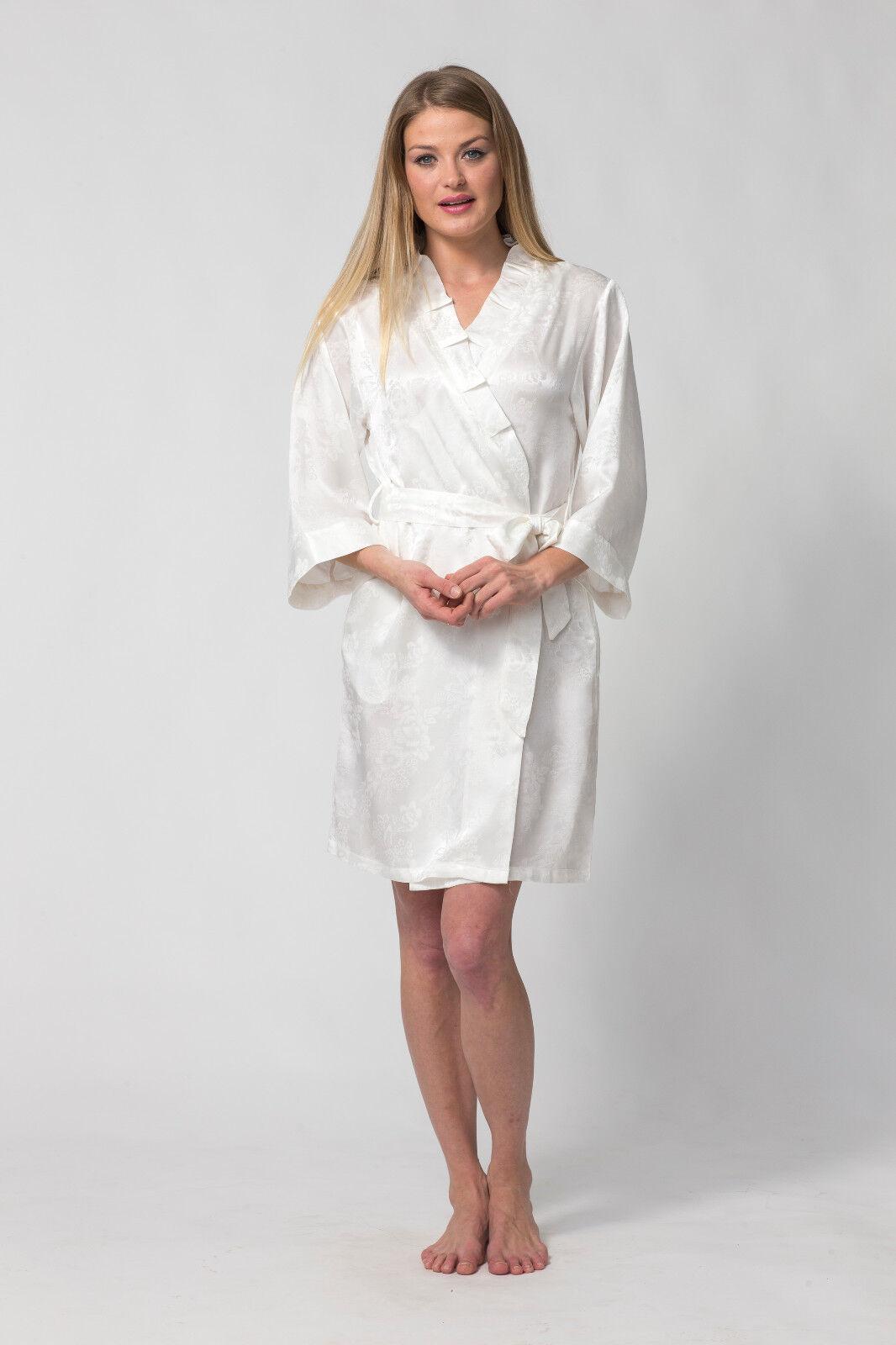 Women's wedding, bridal, short white robe-Royal Festival- Silk Jacquard weave