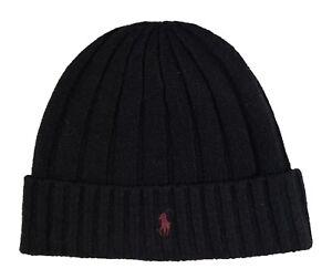 Polo-Ralph-Lauren-Men-039-s-Black-Wool-Blend-Ribbed-Cuff-Beanie-Hat