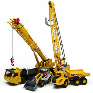KDW-Diecast-Mega-Lifter-Crane-Truck-Shovel-Cable-Excavator-Model-Cars-4-pcs-set