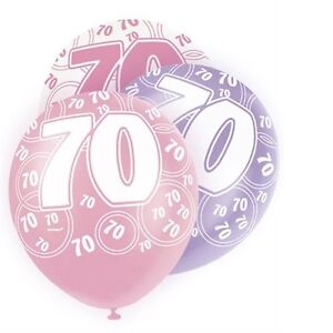 Pink-Glitz-70th-Birthday-Age-70-Pack-6-Latex-Party-Balloons-Suit-Air-Or-Helium