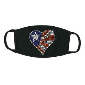 Face Mask Rhinestone Heart American Flag, Cotton Blend, Made In USA