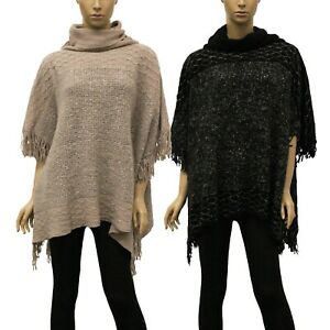 Womens-Knitted-Poncho-Turtleneck-Cowl-Neck-Fall-Winter-Cute-Pullover-Sweater