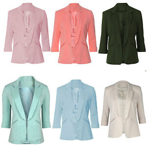 Womens-Ladies-Tailored-Blazer-Collar-Jacket-Fitted-Top-Celeb-Inspired-UK-8-16