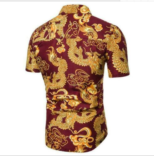Summer Chic Chinese Chic Dragon Pattern Print Men Leisure short-sleeved Shirt