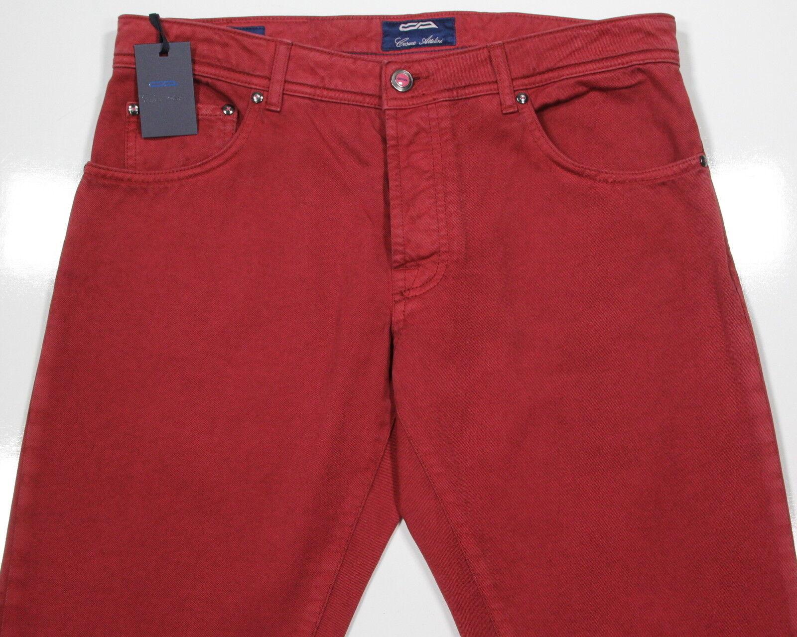 Neuf Cesare Cesare Neuf Attolini Actuel 2018 Canneberge Rouge Coton Extensible Jeans 34 53ebdd