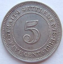 TOP! 5 CENT STRAITS SETTLEMENTS 1888 in EXTREMELY FINE RARE
