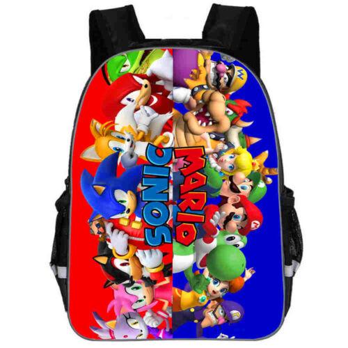 "13/""//16"" Sonic Kids The Hedgehog Backpacks Students Rucksack School Bags Gifts UK"