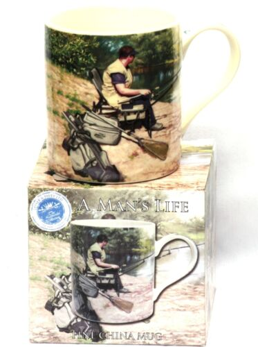 Fishing Man Scene Mug Drinks Tea China Gift For Fisherman Dad Boxed
