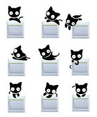 9 Pcs Cute Switch Stickers Big Eye Cat Shapes Bedroom Parlor Wall Glass Stickers