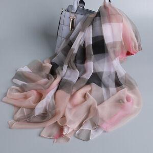 Women-100-Pure-Silk-Women-Large-Long-Scarf-Shawl-Check-Style-70-034-51-034