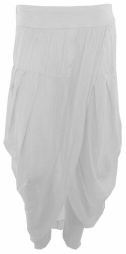 Womens Italian Lagenlook Layered Silk WrapOver Skinny Plain Harem Trousers Pants
