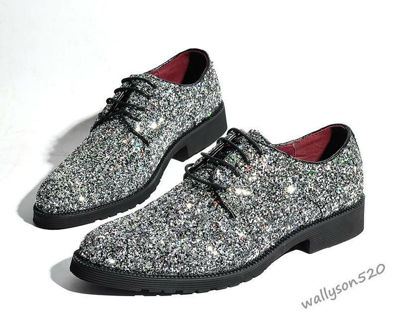 Fashion Mens Bling Bling Glitter Sequins Lace Up Dress Show Nightclub shoes