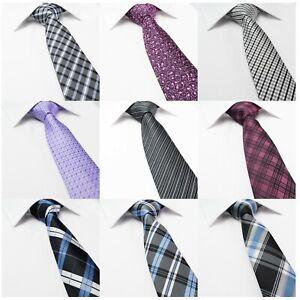 Mens-Tie-Silk-Classic-Paisley-Check-Plaid-Tartan-Necktie-Black-Blue-White-Grey