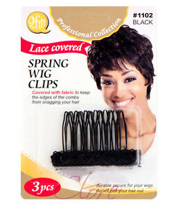 088a83289b2 Qfitt Lace Covered Spring Wig Clips Fabric Edges Hair Comb 3pcs/1PK ...