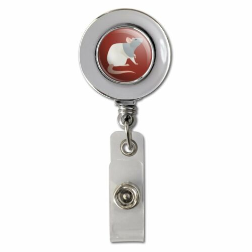 Hooded Rat Retractable Reel Chrome Badge ID Card Holder Clip