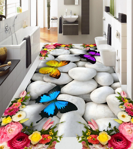 3D Mariposa Papel de parojo de piedra 866 Piso Impresión De Parojo Murales AJ Wallpaper Reino Unido Limón