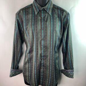 Robert-Graham-Mens-Button-Front-Shirt-Green-Brown-Stripe-Flip-Cuff-Sleeve-L