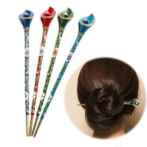 Women-Cloisonne-Metal-Rhinestone-Hair-Stick-Hair-Chopsticks-Hairpin-Pin-Chignon