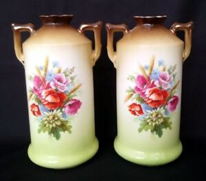 Pair-Of-VTG-Austrian-Pottery-Bottle-Vases-243-8-Inches-FREE-Delivery-UK