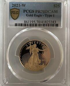 2021-W $25 1/2oz Proof American Gold Eagle Type 1 PCGS PR70 DCAM