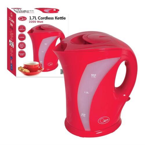 Rouge léger sans fil électrique Cuisine pichet Bouilloire Chaudière à eau 1.7 L-UK Plug