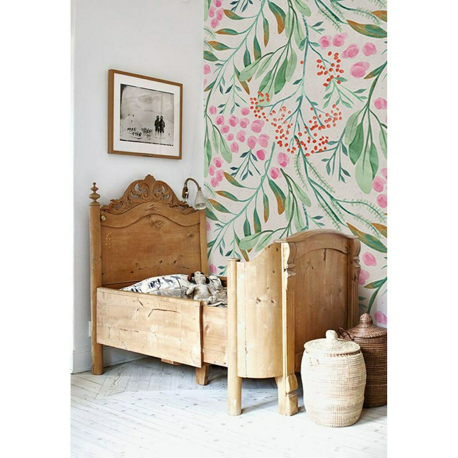 Non-Woven wallpaper Rowanberry and leaves WaterFarbe Traditional art Home Mural