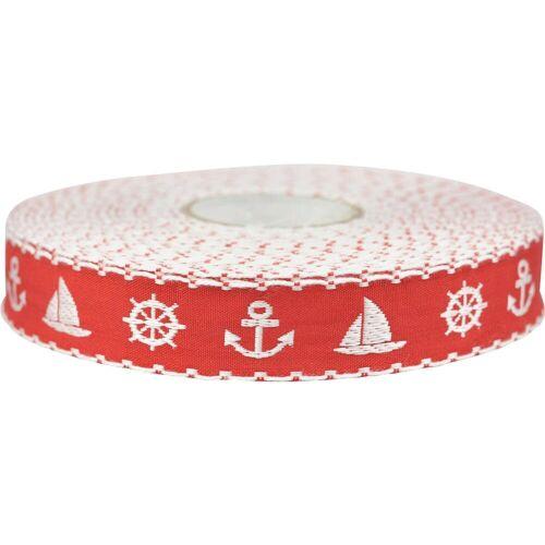 1 m Webband maritime Motive rot weiß 15 mm