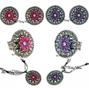eb7086583 Image is loading Vintage-Bollywood-Bling-Ethnic-Lotus-Flower-Crystals -Necklace-