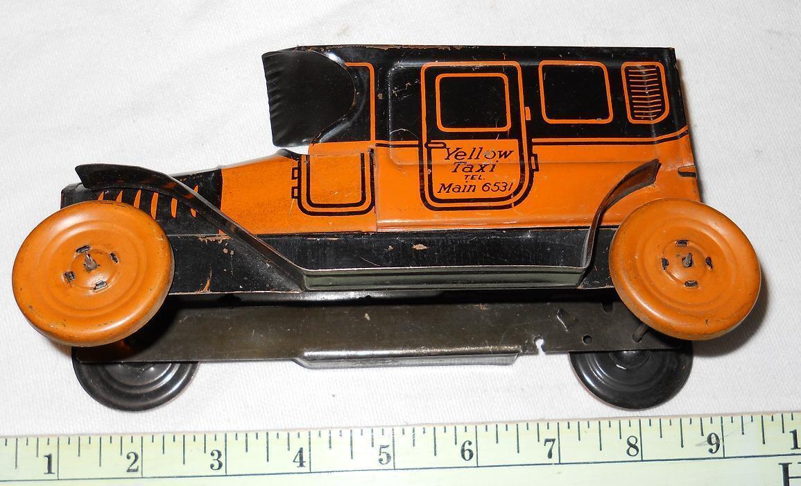 Chein Amarillo Taxi, Nueva York. 1923, 6415 Aprox 8 pulgadas de largo, década de 1920
