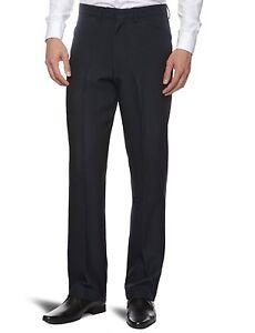 New-Men-039-s-Farah-Trousers-Dark-Navy-Blue-Hopsack-Weave-Straight-Leg-Anti-Stain