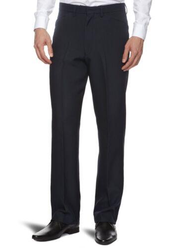 New Men/'s Farah Trousers Dark Navy Blue Hopsack Weave Straight Leg Anti Stain