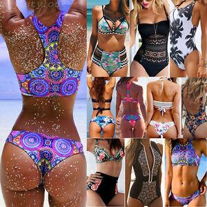 Mujer Bañador Traje de baño Con Relleno Monokini Push Up Juegos Bikini Nuevo