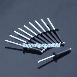 100Pcs M2.4-M5 Aluminum/Steel Blind Pop Rivets Dome Head Open End Black