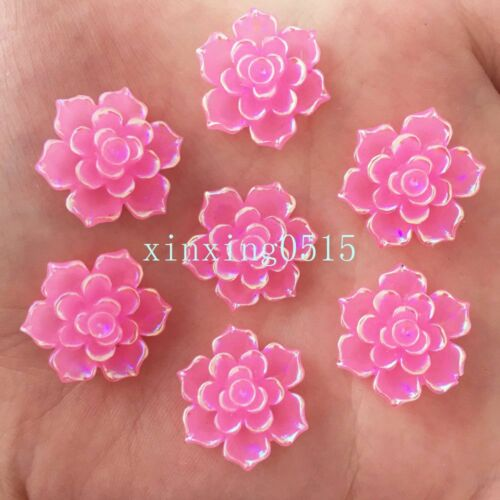 DIY 20pcs 20mm AB Resin 3d flower Flatback stone scrapbook Wedding craft Buttons
