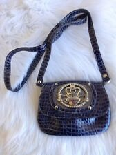 Kathy Van Zeeland Purple Gray Shoulder Cross Body Purse Bling Croc Small