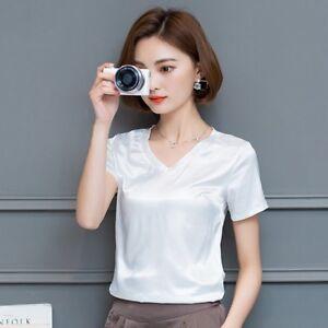 af3f18d061649 Women Satin T-shirt V Neck Faux Silk Shirt Tops Short Sleeve Blouse ...